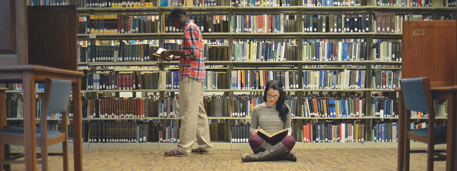 Students at the Regent University library.