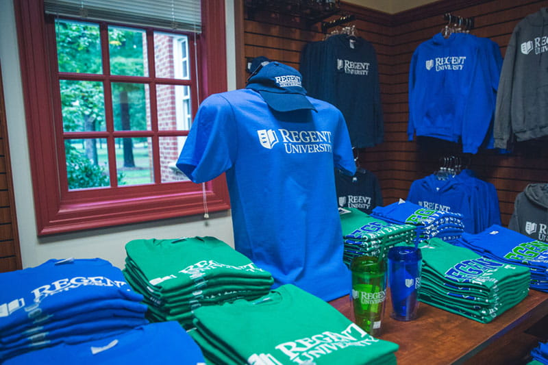 Visit the Regent University Gift Shop located on campus in Virginia Beach, VA 23464.