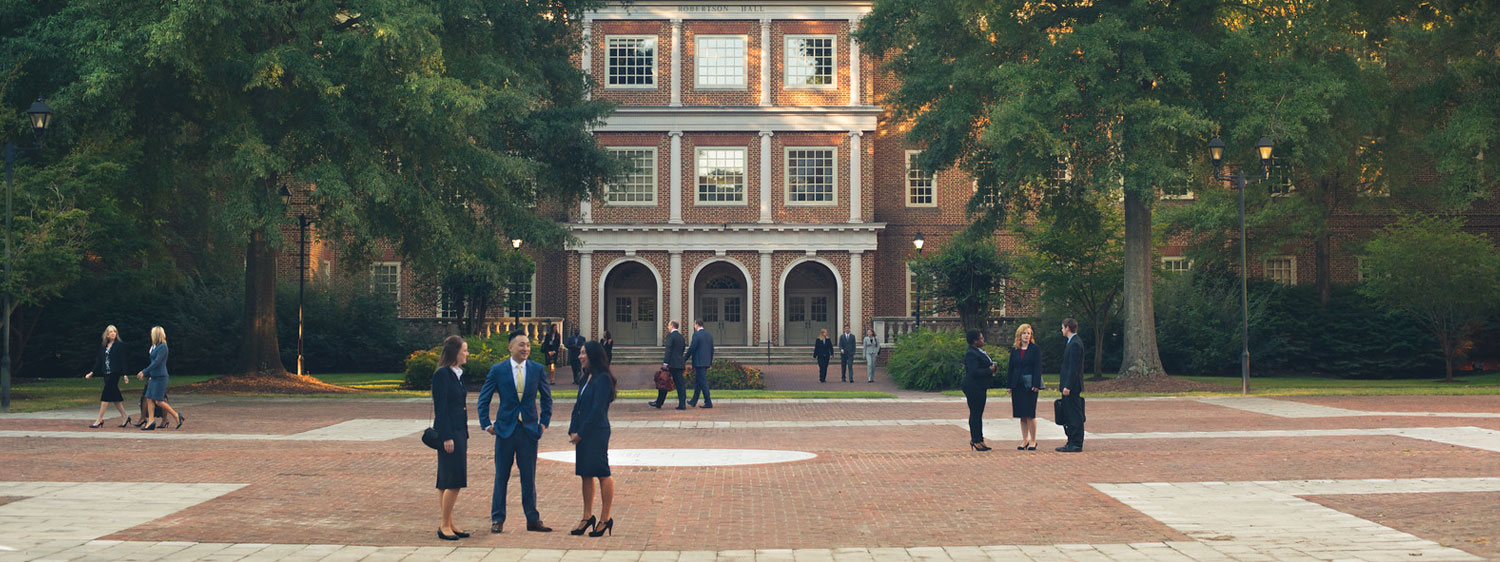 Students outside Roberston Hall, which houses Regent University's law school in Virginia Beach, VA 23464.
