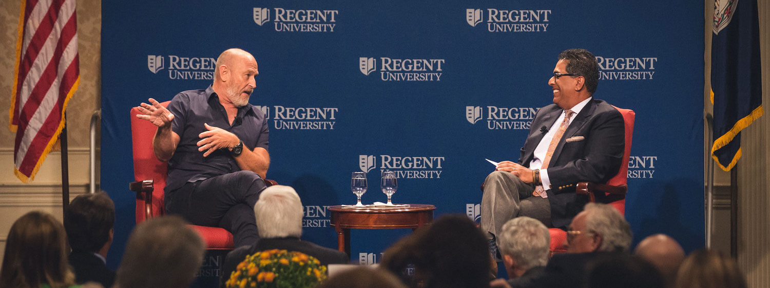 Actor and director Corbin Bernsen speaks with CBN's George Thomas during an event at Regent University, Virginia Beach.