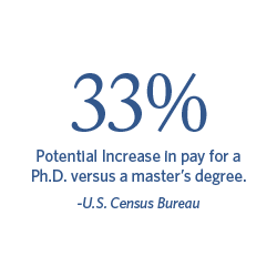 33% Potential increase in pay for a Ph.D. versus a master's degree. | U.S. Census Bureau.