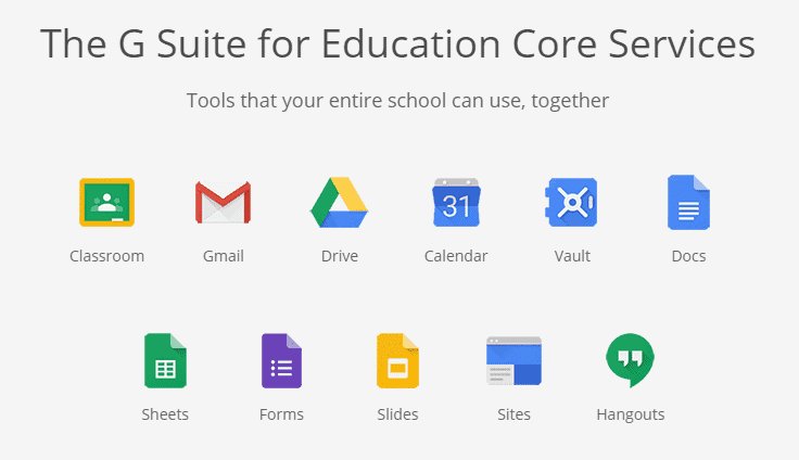The G Suite for Education Core Services.