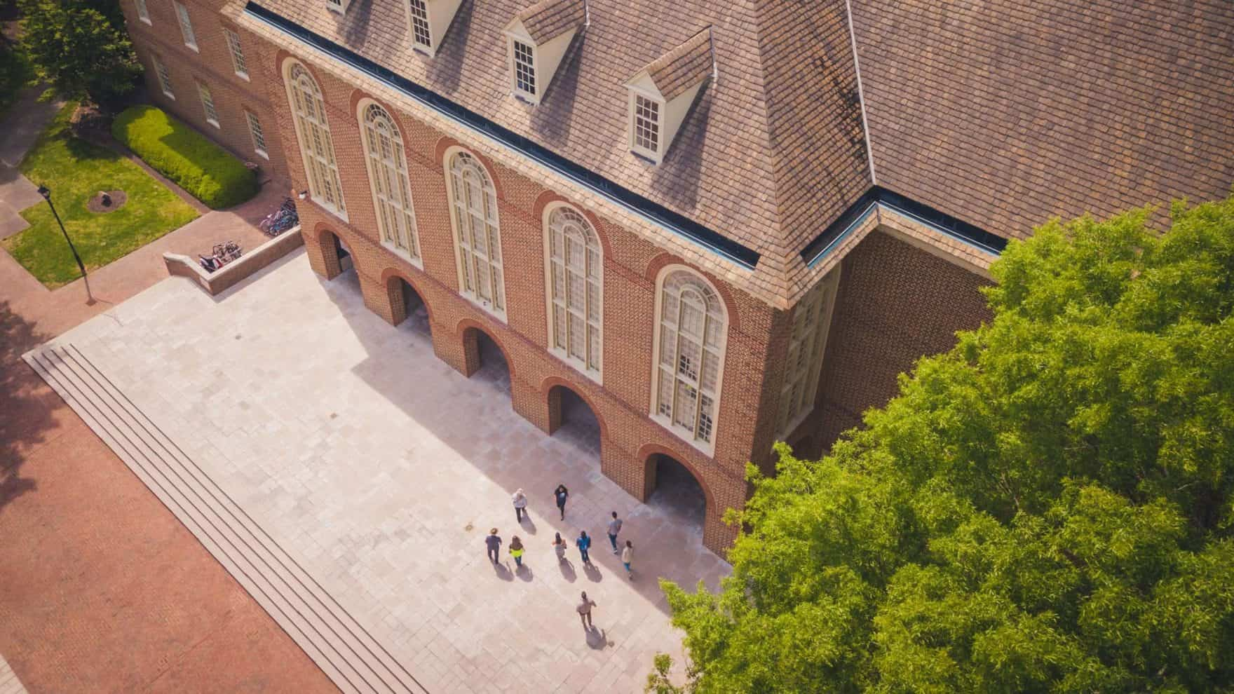 Arial drone shot of the Regent University Library