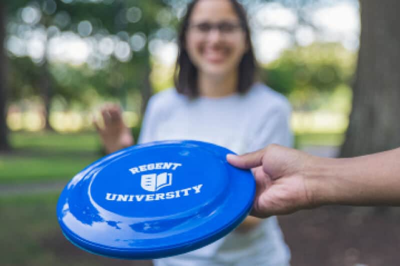 Frisbee offered by the Regent University Gift Shop.