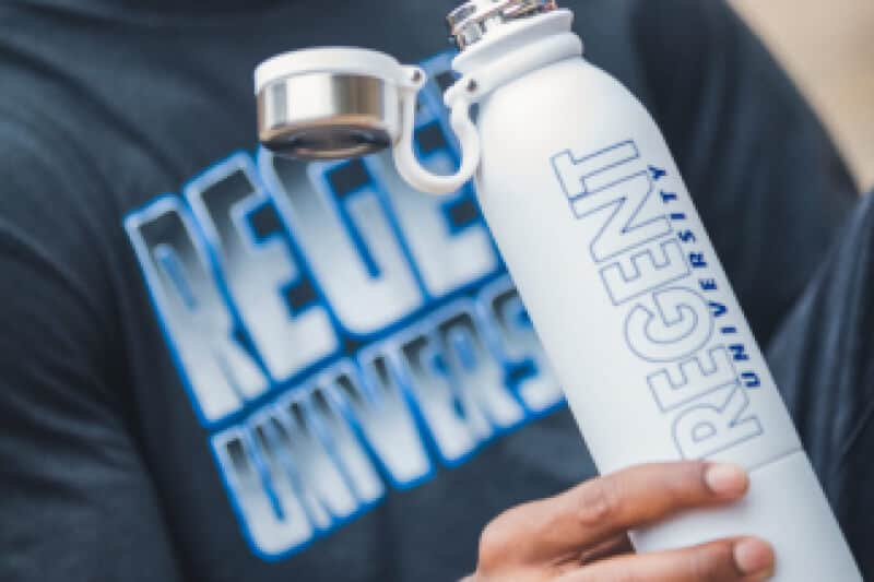 Water bottle offered by the Regent University Gift Shop.