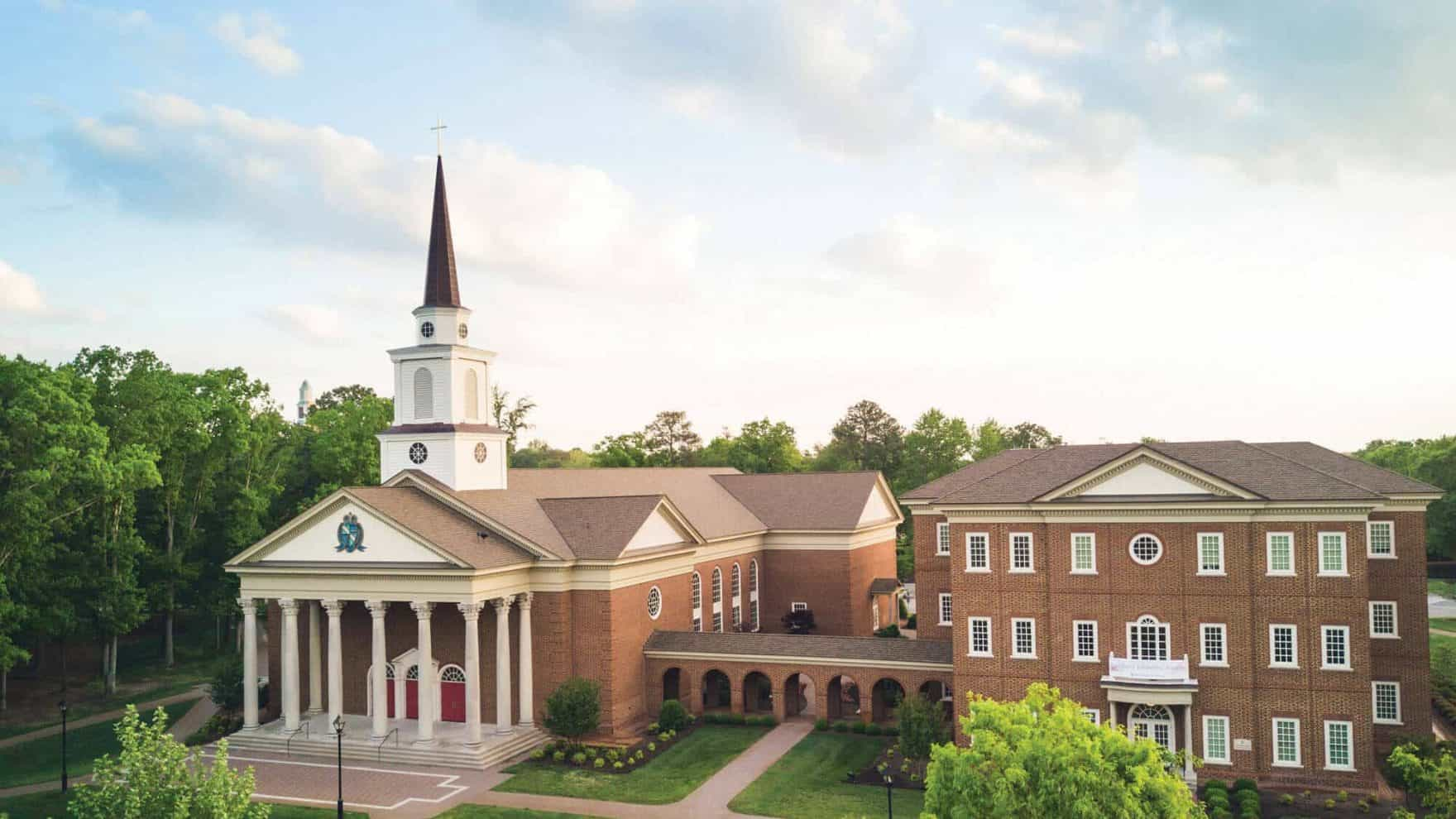The beautiful chapel and Divinity building of Regent University, Virginia Beach.