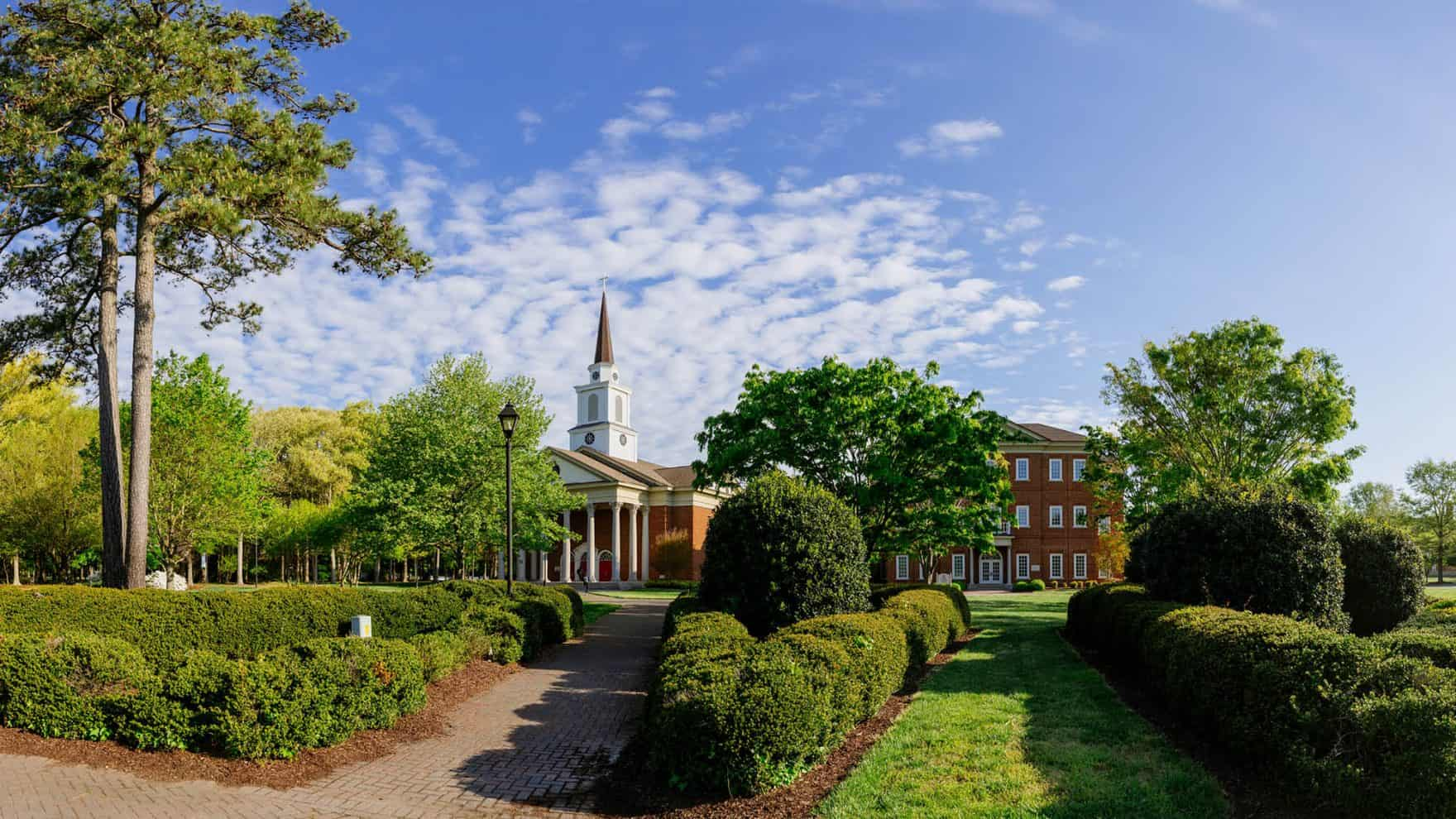The chapel and Divinity Building of Regent University, a Christian college in Virginia.