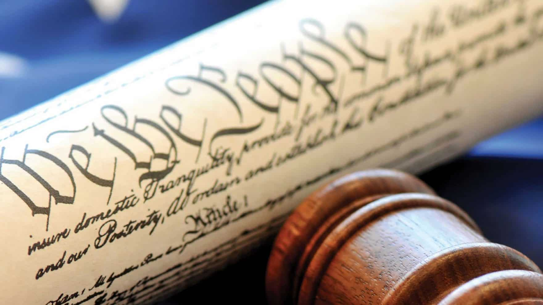 The U.S. Constitution Preamble and a gavel.
