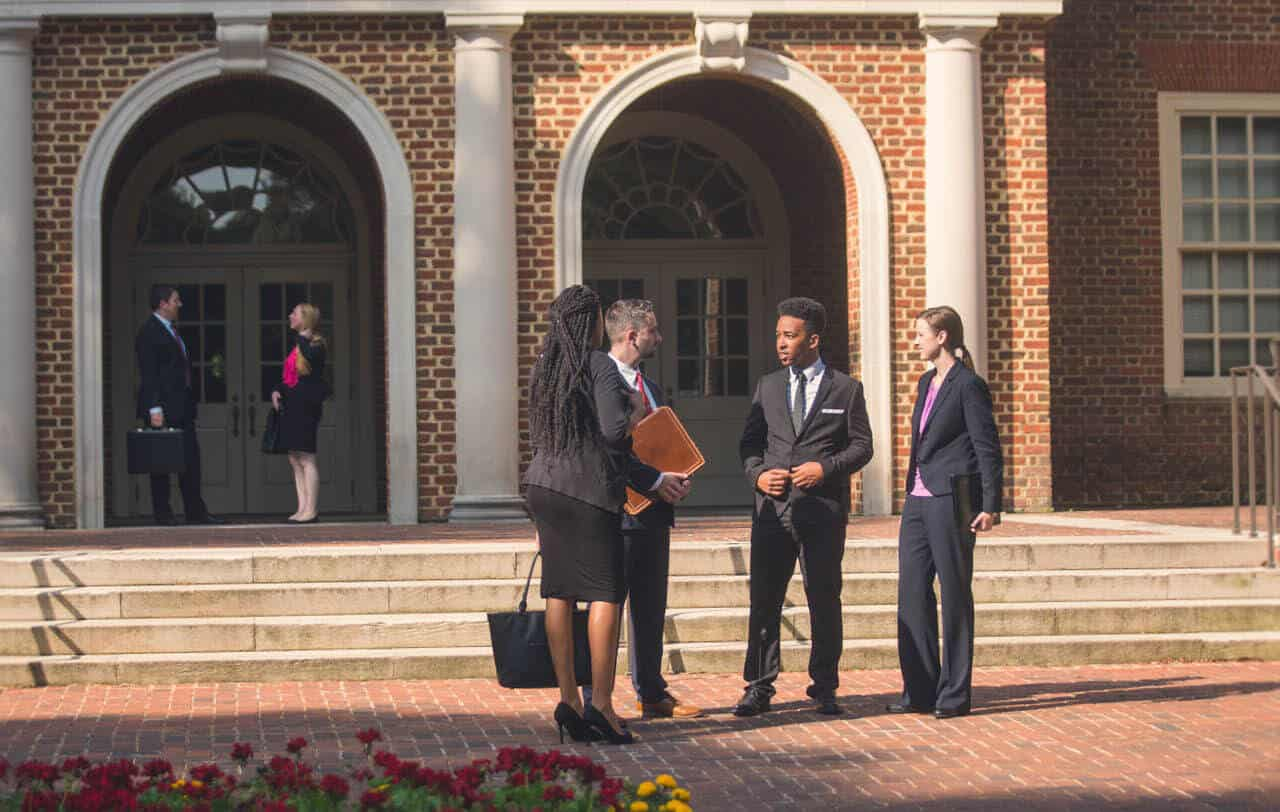 A group outside Robertson Hall, which houses the Regent University's law school in Virginia.